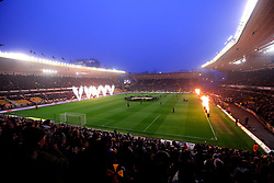 Wolverhampton Wanderers and Derby County walk out at Molineux - Mandatory by-line: Robbie Stephenson/JMP - 11/04/2018 - FOOTBALL - Molineux - Wolverhampton, England - Wolverhampton Wanderers v Derby County - Sky Bet Championship