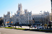 The facade of the Palacio de Cibeles, City Hall, Madrid, Spain