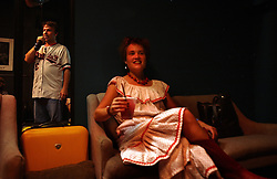 Comedian Doug Stanhope drinks a beer backstage with his girlfriend Bingo at Antones in downtown Austin, Texas on Aug. 03, 2008. Stanhope will be performing at the Edinburgh Festival.
