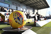 The Mitre match ball prior to  the Ladbrokes Scottish Premiership match between St Mirren and Hibernian at the Paisley 2021 Stadium, St Mirren, Scotland on 27 January 2019.