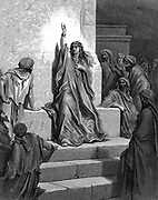 Deborah, Hebrew prophetess who delivered her people from Jabin, King of Canaan, and his general Sisera, singing her song of triumph. Judges 5:1. 13th century BC. From Gustave Dore's illustrated 'Bible' 1866. Wood engraving.