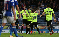 The Peterborough United players celebrate the opening goal of the game - Mandatory by-line: Joe Dent/JMP - 19/04/2018 - FOOTBALL - Ewood Park - Blackburn, England - Blackburn Rovers v Peterborough United - Sky Bet League One