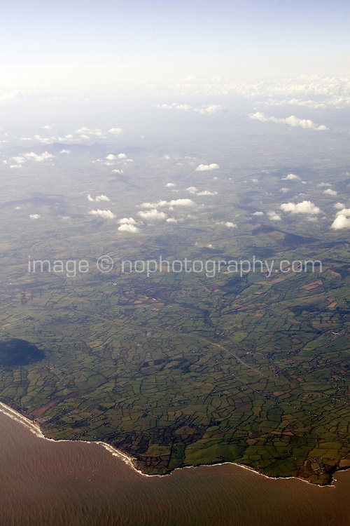 Arial view of coast and irish landscape from Airplane
