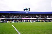 Leeds fans pack the away end during the The FA Cup 3rd round match between Queens Park Rangers and Leeds United at the Loftus Road Stadium, London, England on 6 January 2019.
