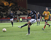 Phil Roberts fires in the shot which was deflected into his own net by Partick Thistle's Conrad Balatoni for Dundee's last gasp equaliser - Partick Thistle v Dundee - SPFL Premiership at Dens Park<br /> <br />  - &copy; David Young - www.davidyoungphoto.co.uk - email: davidyoungphoto@gmail.com