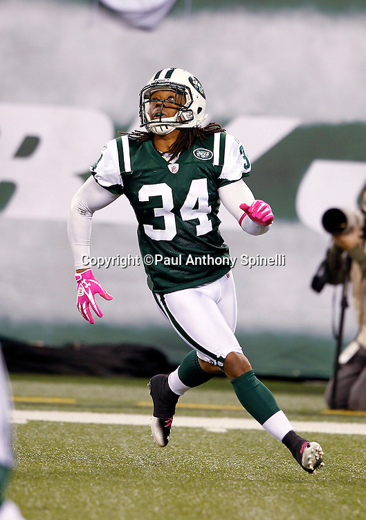 New York Jets defensive back Marquice Cole (34) chases the action during the NFL week 6 football game against the Miami Dolphins on Monday, October 17, 2011 in East Rutherford, New Jersey. The Jets won the game 24-6. ©Paul Anthony Spinelli