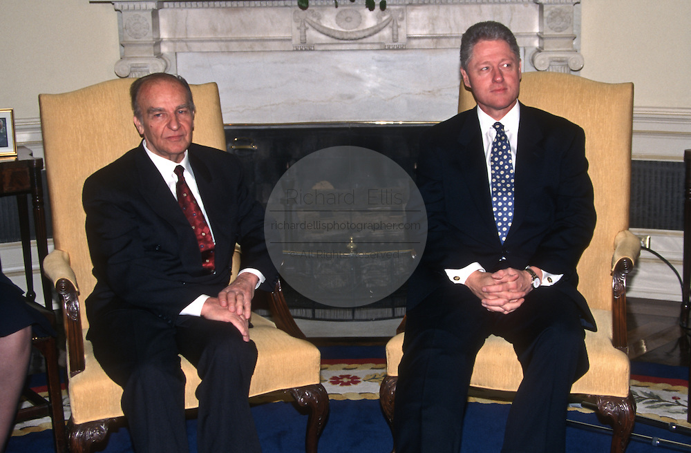 President Clinton with Bosnian President Alija Izetbegovic in the Oval Office of the White House March 26, 1997. The Bosnian president is seeking a renewed support for the Dayton peace accords.