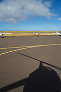 Helicopter shadow, Honolulu Airport, Oahu, Hawaii