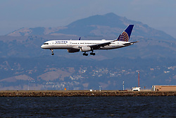 Boeing 757-224 (N19130) operated by United Airlines landing at San Francisco International Airport (KSFO), San Francisco, California, United States of America