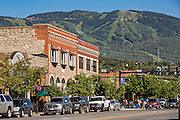 Historic downtown shopping district along Lincoln Avenue  in Steamboat Springs, Colorado.