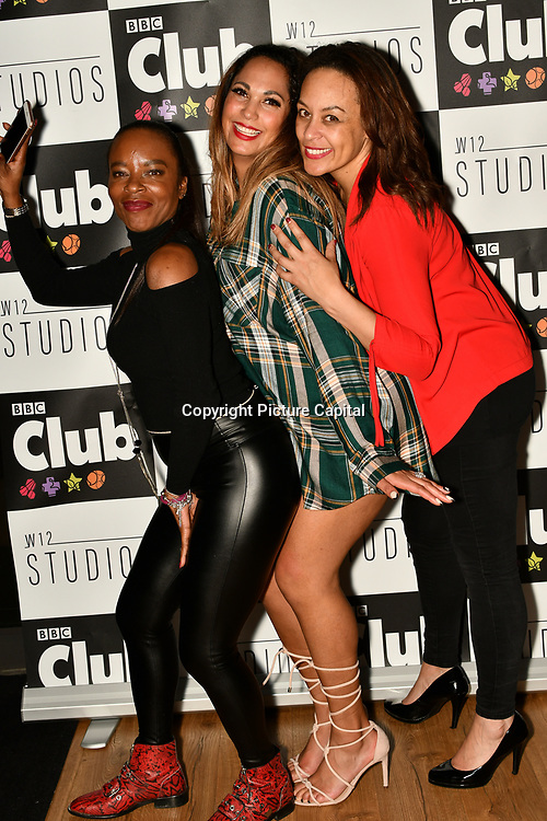 Tina T, HunnyB and Caroline Morgan attend BBC Club at W12 Studios Lunch party on 14 March 2019, London, UK.