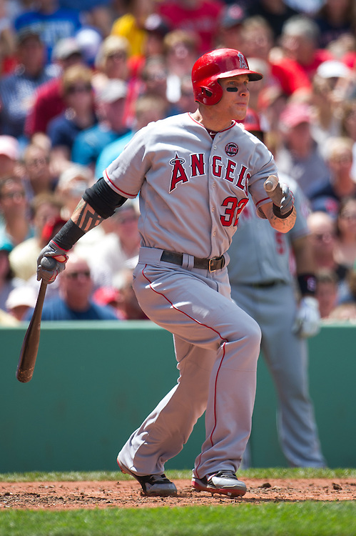 BOSTON, MA - JUNE 09: Josh Hamilton #32 of the Los Angeles Angels bats during the game against the Boston Red Sox at Fenway Park in Boston, Massachusetts on June 9, 2013. (Photo by Rob Tringali) *** Local Caption *** Josh Hamilton