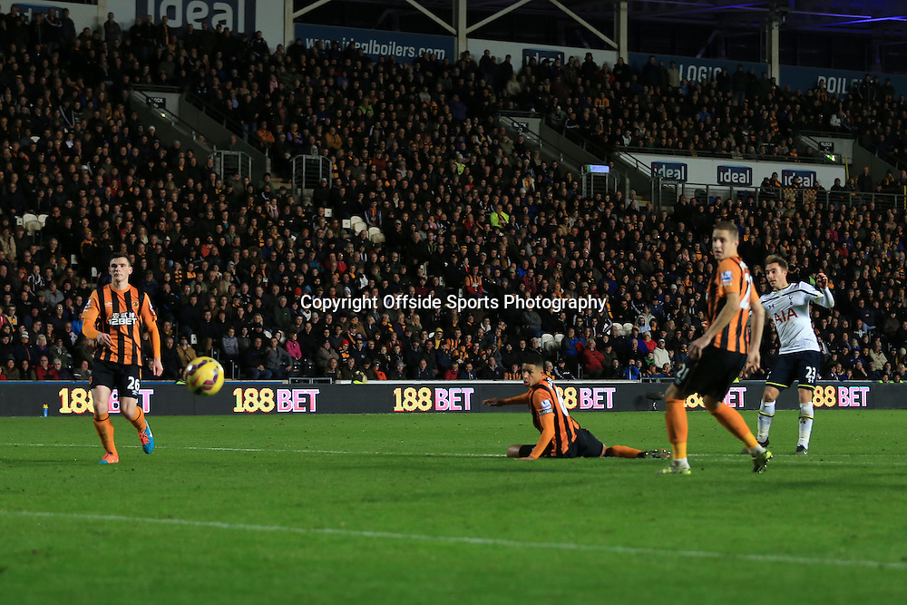 23rd November 2014 - Barclays Premier League - Hull City v Tottenham Hotspur - Christian Eriksen of Spurs scores their 2nd goal - Photo: Simon Stacpoole / Offside.