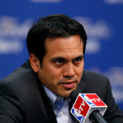 Jun 13, 2013; San Antonio, TX, USA; Miami Heat head coach Erik Spoelstra addresses the media during a press conference after game four of the 2013 NBA Finals against the San Antonio Spurs at the AT&T Center. The Miami Heat defeated the San Antonio Spurs 109-93. Mandatory Credit: Derick E. Hingle-USA TODAY Sports