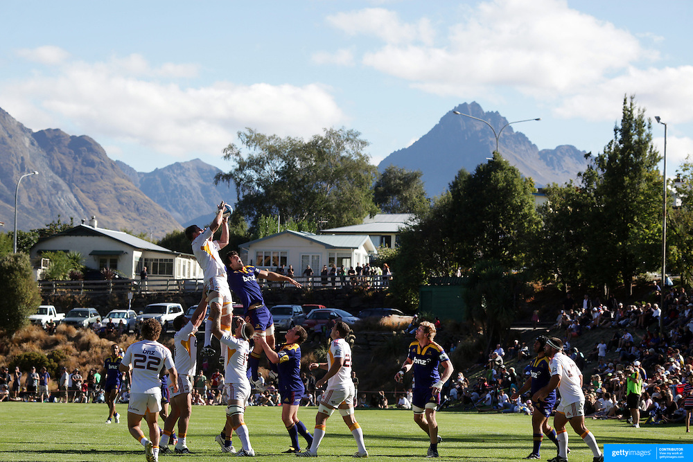 Players contest a line out during the Otago Highlanders V Waikato Chiefs, pre season Super 15 rugby match at the Queenstown Recreation Ground, Queenstown, Otago, New Zealand. 11th February 2012. Photo Tim Clayton