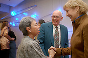 16831Putnam Hall Rededication 1/13/05: Photos by Colby Ware..Dance professor Gladys Bailin greets Ted and Sandy Gahan, parents of student performer Maura Gahan, during the Putnam Hall rededication ceremony.