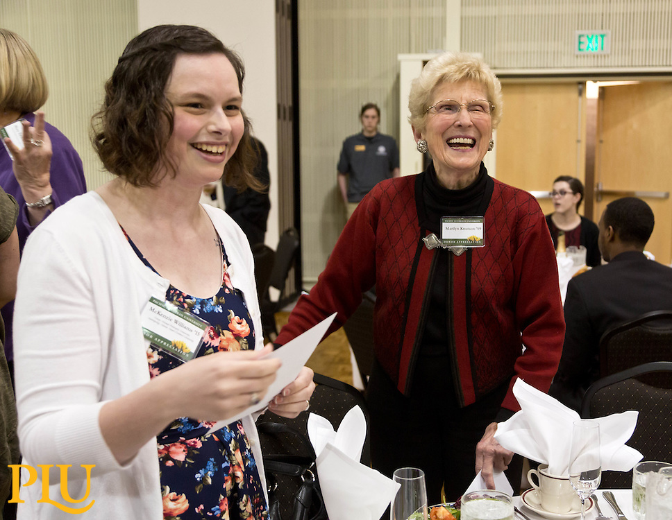 Donor banquet where students who are recipients of scholarships have a chance to meet the scholarship donors at PLU on Tuesday, April 28, 2015. (Photo: John Froschauer/PLU)