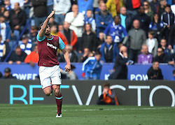 Andy Carroll of West Ham United (L) celebrates scoring his sides first goal from the penalty spot - Mandatory by-line: Jack Phillips/JMP - 17/04/2016 - FOOTBALL - King Power Stadium - Leicester, England - Leicester City v West Ham United - Barclays Premier League