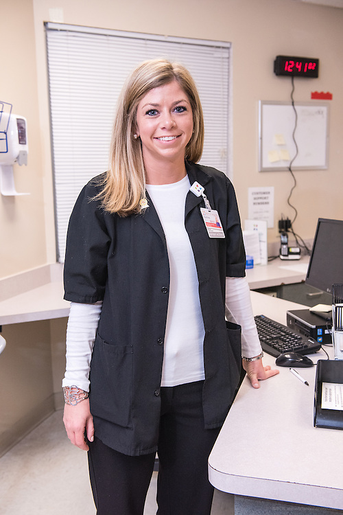 Patient Access Registration Specialist Courtney McFadden, photographed Wednesday, May 20, 2015, at Baptist Health in Richmond, Ky. (Photo by Brian Bohannon/Videobred for Baptist Health)