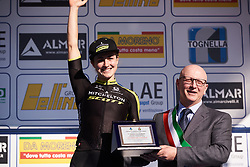 Grace Brown (AUS) receives the combatively award at Trofeo Alfredo Binda 2019, a 131.1 km road race from Taino to Cittiglio, Italy on March 24, 2019. Photo by Sean Robinson/velofocus.com