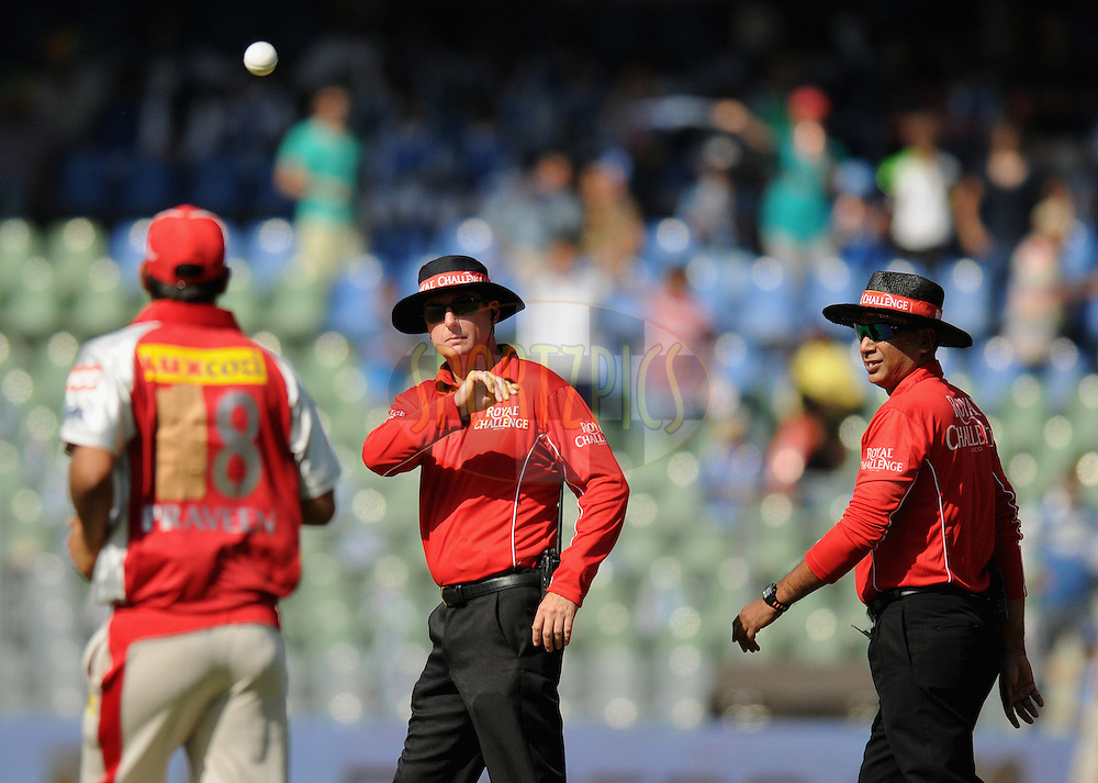 field umpire  RJ Tucker (Australia) and S Ravi during match 28 of the Indian Premier League ( IPL) 2012  between The Mumbai Indians and the Kings X1 Punjab held at the Wankhede Stadium in Mumbai on the 22nd April 2012..Photo by Pal Pillai/IPL/SPORTZPICS.