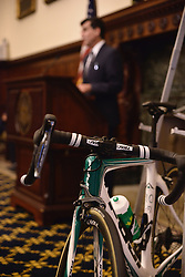 Race, city officials, joined by athletes competing in Sunday's race kick off 2016 Philadelphia International Cycling Classic bike race weekend at a June 3rd, 2016 press conference at CityHall, Philadelphia Pennsylvania. Pro-cyclist will compete at a 73.8miles/118.7km course for the UCI Women's World Tour and 110.7miles/178.2km for the UCI 1.1 Men's America Tour during the Philadelphia Cycling Classic on Sunday June 5th, 2016.