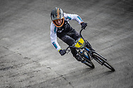 #4 during practice at the 2018 UCI BMX World Championships in Baku, Azerbaijan.