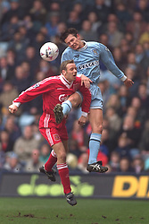 COVENTRY, ENGLAND - Saturday, April 6, 1996: Liverpool's Rob Jones in action against Coventry City's Noel Whelan during the Premiership match at Highfield Road. Coventry won 1-0. (Pic by David Rawcliffe/Propaganda)