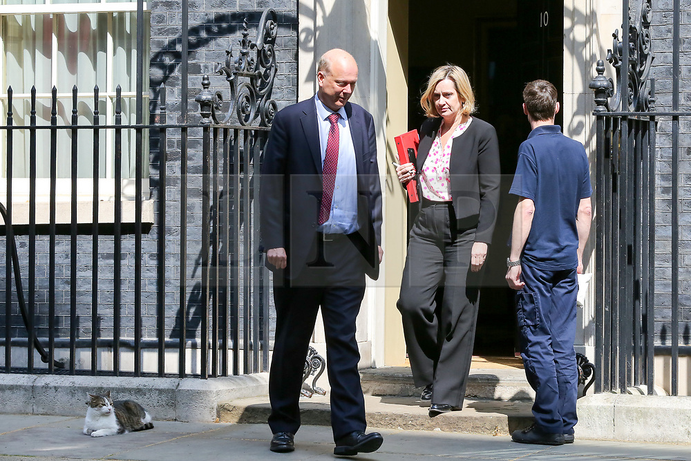 © Licensed to London News Pictures. 30/04/2019. London, UK. Chris Grayling - Secretary of State for Transport (L) and Amber Rudd - Secretary of State for Work and Pensions (C) departs from No 10 Downing Street after attending the weekly Cabinet meeting. Photo credit: Dinendra Haria/LNP