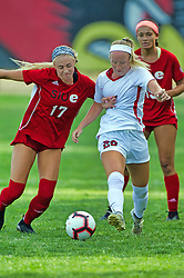 NORMAL, IL - August 10:  MacKenzie Litzsinger & Riley O'Brien during a nonconference exhibition women's soccer match between the Southern Illinois Edwardsville Cougars and the Illinois State Redbirds August 10 2019 on Adelaide Street Field in Normal IL (Photo by Alan Look)
