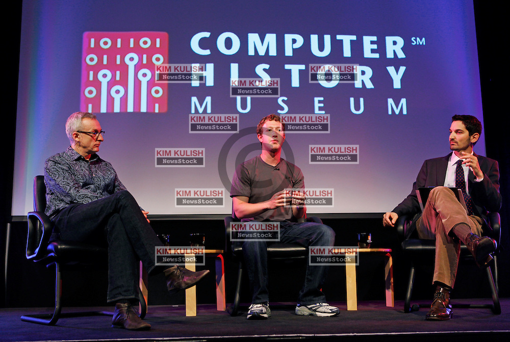 Mark Zuckerberg, Facebook CEO, (c),  appears at the Computer History Museum in Mountain View Calif. for a 2 hour talk with  The Facebook Effect, Author David Kirkpatrick, (l) and NPRÕs Guy Raz, (r).  Zuckerberg announced earlier in the day that Facebook  surpassed the 500 million active users milestone.