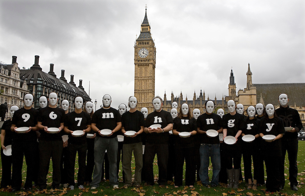 On World Food Day, October 16th Oxfam launches a massive fundraising appeal to tackle the impact of rising world food prices, which have pushed an extra 119 million people into hunger, taking the global total to nearly 1 billion. Volunteers stand outside Parliament Square, London, to help publicize the Oxfam appeal. Oxfam needs to raise £15 million to pay for its international development and humanitarian work on food and agriculture.