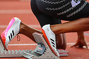 Demish GAYE of Jamaica on his marks at the start of the Men's 400m during the Muller Grand Prix at Alexander Stadium, Birmingham, United Kingdom on 18 August 2019.