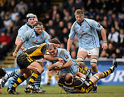 Wycombe, GREAT BRITAIN, Bristol's, Joe El-ABD, is held up by, Wasps, Lawrence DALLAGLIO [ground] and Joe WORSLEY, during, the first half of the Guinness Premiership match, London Wasps vs Bristol Rugby, played at the Adams Park Stadium, on Sat. 23rd Feb 2008.  [Mandatory Credit, Peter Spurrier/Intersport-images]