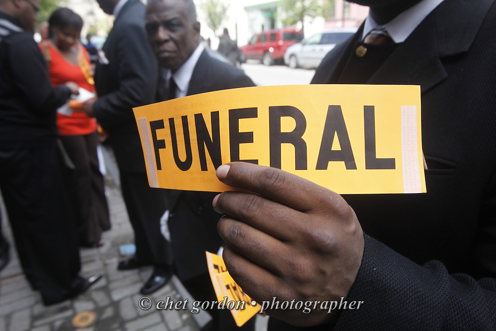 Mourners outside the House of Joy Church during Tyrik Omar Legette's funeral in the City of Newburgh, NY on Friday, May 8, 2009. Legette is the 34 year old man who was stabbed to death on Lander Street by a group of youths on April 30th.