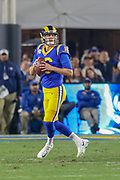 Jan 12, 2019; Los Angeles, CA, USA; Los Angeles Rams quarterback Jared Goff (16) drops back for a pass against the Dallas Cowboys during an NFL divisional playoff game at the Los Angeles Coliseum. The Rams beat the Cowboys 30-22. (Kim Hukari/Image of Sport)
