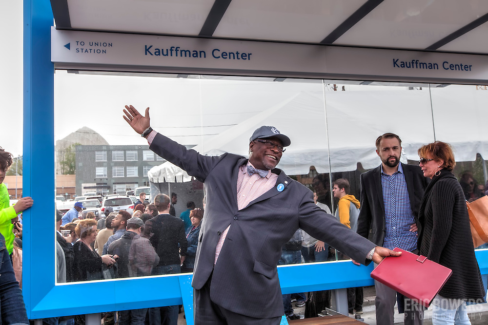 Kansas City Mayor Sly James at ribbon cutting ceremony for the first completed Kansas City Streetcar platform at 16th & Main Streets, downtown Kansas City, MIssouri on April 24th, 2015.