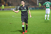 Forest Green Rovers Lloyd James(4) celebrates at the end of the match during the EFL Sky Bet League 2 match between Yeovil Town and Forest Green Rovers at Huish Park, Yeovil, England on 8 December 2018.