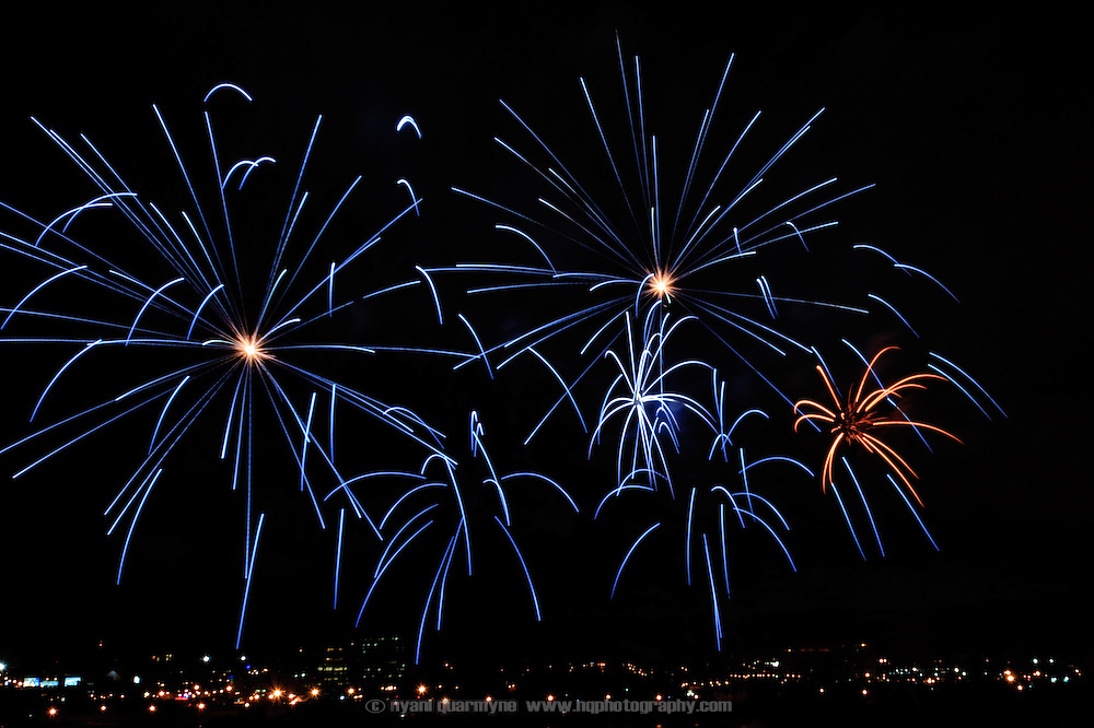 Fireworks from a display by the Australian team are seen over Montreal, Quebec, Canada on 4 July 2009 as part of the Montreal International Fireworks Competition.