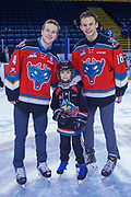 KELOWNA, CANADA - FEBRUARY 18:  Gordie Ballhorn #4 of the Kelowna Rockets, Carsen Twarynski #18 of the Kelowna Rockets at the BCAA Family Skate with the Kelowna Rockets on February 18, 2018 at Prospera Place in Kelowna, British Columbia, Canada.  (Photo By Cindy Rogers/Nyasa Photography,  *** Local Caption ***