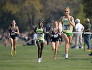 Nov 9, 2018; Sacramento, CA, USA; Jessica Hull (257) and Susan Ejore (255) of Oregon place second and third in the women's race in 19:22 and 19:24 during the NCAA West Regional at Haggin Oaks Golf Course.