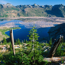 Goat Rocks Wilderness and Spirit Lake from Donnybrook Overlook, Mt. St. Helens National Volcanic Monument, Washington, US