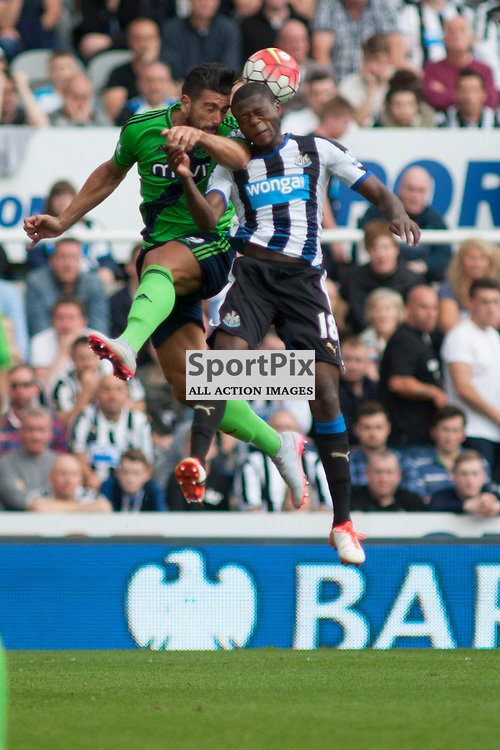 Graziano Pelle (SFC 19) and Chancel Mbemba (NUFC 18) contest a headerin the Newcastle United v Southampton Barclays Premier League match at St James' Park Newcastle 09 August 2015<br /><br />(c) Russell G Sneddon / SportPix.org.uk
