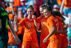 01-06-2019 NED: Netherlands - Australia, Eindhoven<br /> <br /> Friendly match in Philips stadion Eindhoven. Netherlands win 3-0 / Vivianne Miedema #9 of The Netherlands score 2-0, Lieke Martens #11 of The Netherlands, Merel van Dongen #4 of The Netherlands
