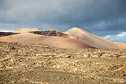 Volcanic landscape Parque Nacional de Timanfaya, national park, Lanzarote, Canary Islands, Spain - Mount Timanfaya
