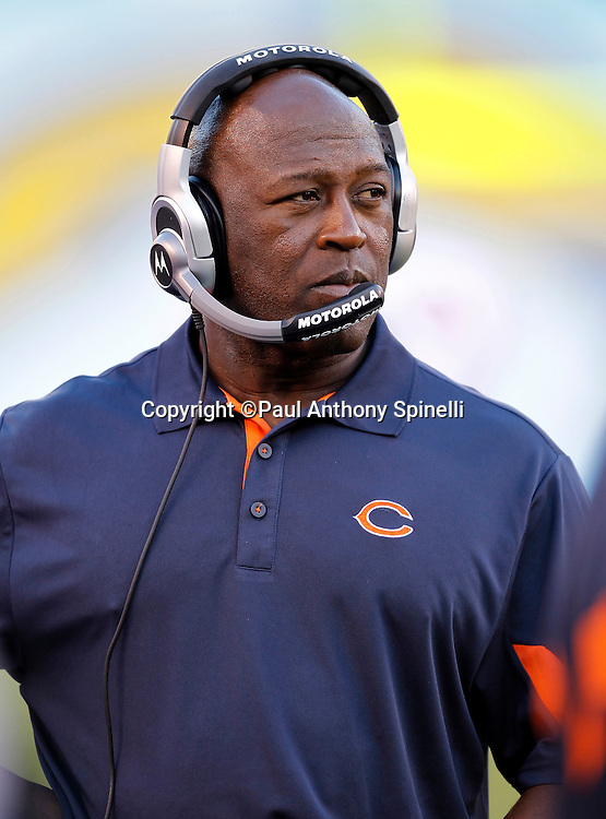 Chicago Bears Head Coach Lovie Smith looks on during a NFL week 1 preseason football game against the San Diego Chargers, Saturday, August 14, 2010 in San Diego, California. The Chargers won the game 25-10. (©Paul Anthony Spinelli)