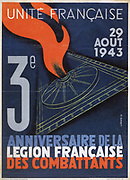 World War II 1939-1945: United France - Poster marking the third anniversary of the French Fighting Legion, France, 1943.
