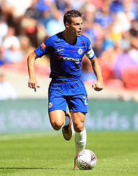 "Chelsea's Cesar Azpilicueta during the Community Shield match at Wembley Stadium, London. PRESS ASSOCIATION Photo. Picture date: Sunday August 5, 2018. See PA story SOCCER Community Shield. Photo credit should read: Adam Davy/PA Wire. RESTRICTIONS: EDITORIAL USE ONLY No use with unauthorised audio, video, data, fixture lists, club/league logos or ""live"" services. Online in-match use limited to 75 images, no video emulation. No use in betting, games or single club/league/player publications."