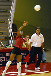Stanford's Ogonna NNamani serves.. The game and set was won by Stanford.  The match up took place at ISU's Redbird Arena in Normal Illinois on September 11, 2002.  The crowd was over 5600 and took the record for fans attending a volleyball game at Redbird, the MVC's record for number of fans watching a conference team and was the largest audience in the continental US thus far in the 2002 season<br />