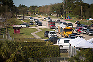 The view from the Sawgrass Expressway towards the entrance to Marjory Stoneman Douglas High School in Parkland on Thursday, Feb. 15, 2018, following Wednesday's mass casualty school shooting. (XAVIER MASCAREÑAS/TREASURE COAST NEWSPAPERS)